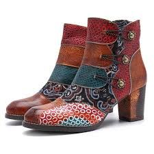 Retro Style Leather Color Block Chunky Heel Floral Ankle Boots ...