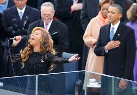 beyonce sings the u s national anthem as president barack obama beyonce sings the u s national anthem as president barack obama and senator schumer listen during swearing in ceremonies on the west front of the u s