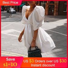 Women <b>Sexy</b> V Neck Dress 2021 Summer <b>Puff Sleeve</b> Mini Dress ...