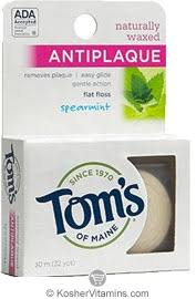 Toms Of Maine Kosher <b>Naturally Waxed Antiplaque Flat</b> Floss ...