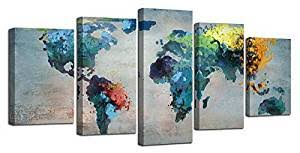 Amazon.com: Ardemy <b>Canvas World Map</b> Painting Watercolor 5 ...
