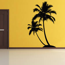 palm tree wall stickers: dual palm tree island wall decal