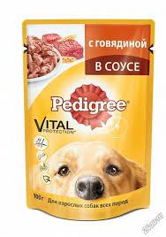 <b>Паучи Pedigree</b> для взрослых собак в соусе с говядиной, 100г ...