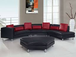 luxury interior furniture for modern living room with excellent black arched leather sofa combined red throw black and chrome furniture