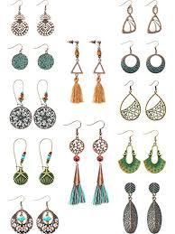 12 Pairs Fashion <b>Metal Vintage</b> Earrings Set with Dangle <b>Pendant</b> ...