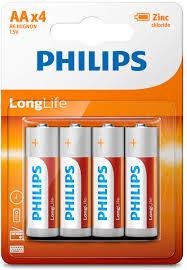 """<b>Батарейка</b> солевая <b>Philips</b> """"LongLife"""", тип <b>AA</b>, 1,5 В, <b>4</b> шт ..."""