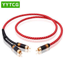 <b>YYTCG HIFI</b> Single <b>RCA</b> to Dual <b>RCA</b> Subwoofer audio <b>cable</b> Pure ...