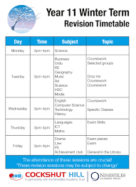 year 11 revision timetable y11 revision winter term