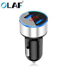 <b>OLAF</b> 5V 3.1A Metal Dual USB <b>Fast</b> Charging <b>Car Charger</b> Digital ...