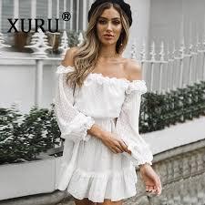 <b>XURU New Summer Women'S</b> Chiffon Dress Solid Color Word ...