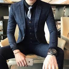 ( Jackets + Vest + Pants ) <b>2019 New</b> High-end Boutique Plaid <b>Men's</b> ...