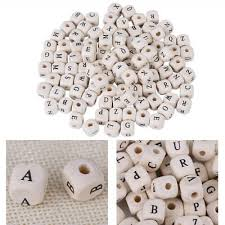 <b>100Pcs 10mm</b> Small Alphabet Letter Cube Square Wooden Spacer ...