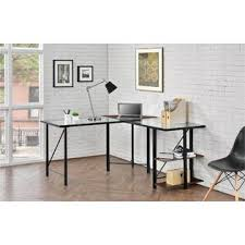 dorel home furnishings cruz cherryblack glass top l desk 1 black glass office desk 1