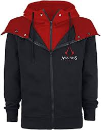 <b>Assassin's Creed Emblem</b> Men Hooded Zip Black-red: Amazon.co ...