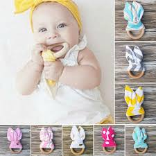 <b>Cute</b> Wooden Natural <b>Multi Pattern</b> Teether Bunny Sensory Toy ...