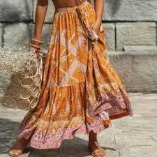 Orange Floral Spliced <b>Long</b> Boho <b>Skirt</b> 2020 Spring Summer New ...