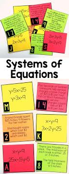best ideas about algebra algebra help math and systems of equations word problem matching cards