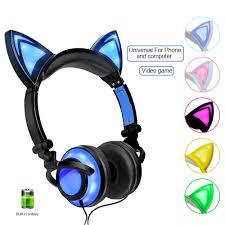 RU Free Shipping Foldable <b>Flashing Cat Ear</b> Kids <b>Headphones</b> ...