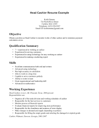 resume samples for cashier resume format  food service