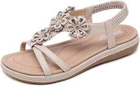 ZAPZEAL <b>Women's Summer</b> Boho Sandals Peep-Toe Flat Shoes ...