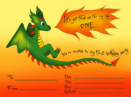 first birthday party invitations and ready to print 1st first birthday party invitation for boys a cute dragon spewing fire
