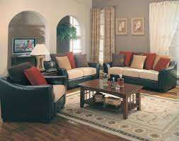 fascinating craftsman living room chairs furniture: decorative leather furniture and white curtains with color