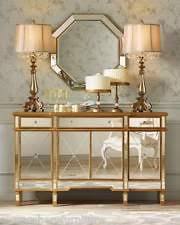 hollywood regency mirrored console gold cabinet dresser table bedroom furniture added drama mirrored bedroom furniture
