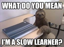 what do you mean i'm a slow learner? - Sloth Student - quickmeme via Relatably.com
