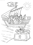 Корабль пирата раскраска