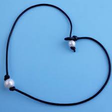 Chic <b>Freshwater</b> Pearl <b>Necklace</b> Genuine Leather Cord Choker ...