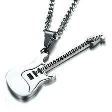 Men's Unisex Stainless <b>Steel</b> Guitar Pendant <b>luxury Necklace</b> ...