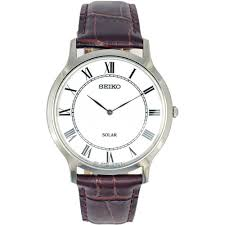 seiko men s solar classic brown leather watch watches from men 039 s solar classic brown leather watch