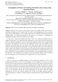 Investigation of Friction Stir <b>Welding</b> of <b>Stainless</b> Steel Using a Stop ...