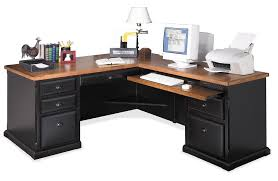 u shaped black wooden computer desk using brown eased profile table top and keyboard rack art deco desk computer