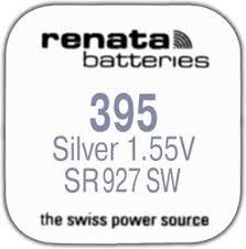 <b>R 395</b> (SR 927 SW, 1.55V, 57mAh, 9.5x2.6mm)(<b>батарейка</b> для часов)
