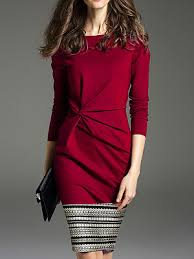 <b>Commuting</b> Round Neck Pure Color Long Sleeve Dress 10729148 ...