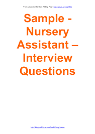 sample nursery assistant interview questions