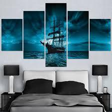 Modular Picture <b>HD Printed</b> Modern Painting Wall Art <b>5 Panel</b> Pirate ...