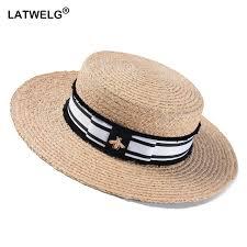 2019 Fashion Bee <b>Summer Sun Hat</b> For Women Natural Raffia ...