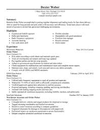 my perfect order picker resume com picture gallery of my perfect order picker resume