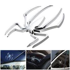 1x Silver Car <b>Auto Styling 3D</b> Spider Sticker Decal Stainless Steel ...