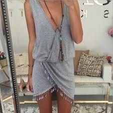 Women mini <b>boho deep v neck</b> dress summer beach short sleeve v ...