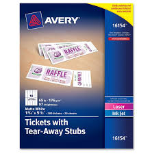 avery tickets tear away stubs matte white  view large image view huge image