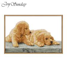 <b>Joy Sunday</b> Cross Stitch Kits Animals <b>Dogs</b> Cross Stitch Fabric 11 ...