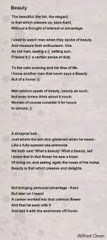 beauty poem by wilfred owen poem hunter