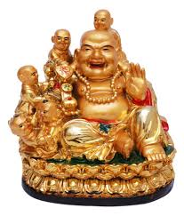 dealing feng shui: oyedeal multicolour resin fengshui laughing buddha with children showpiece