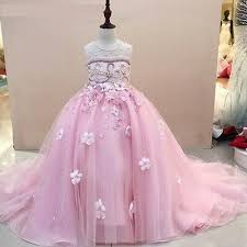Children Girls Blue <b>Pink</b> Jewel Beading <b>Flower Girl</b> Dress <b>Elegant</b> ...