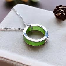 Koraba <b>New S925 Silver</b> Chinese <b>Green</b> Jade Ring Pendant Dual ...