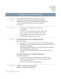Basketball Coach Resume Samples, Tips and Templates resume example for basketball coach