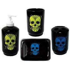 Skull Bathroom Decor Sugar Skull Tattoo Bath Set Rockabilly Retro Punk Gothic Day Dead